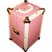 "Vintage Metal Pink & White Doll Trunk / Case for 8"" Doll...example: Ginnette, Ginny, Alexander kins, Muffie, Ginger..."