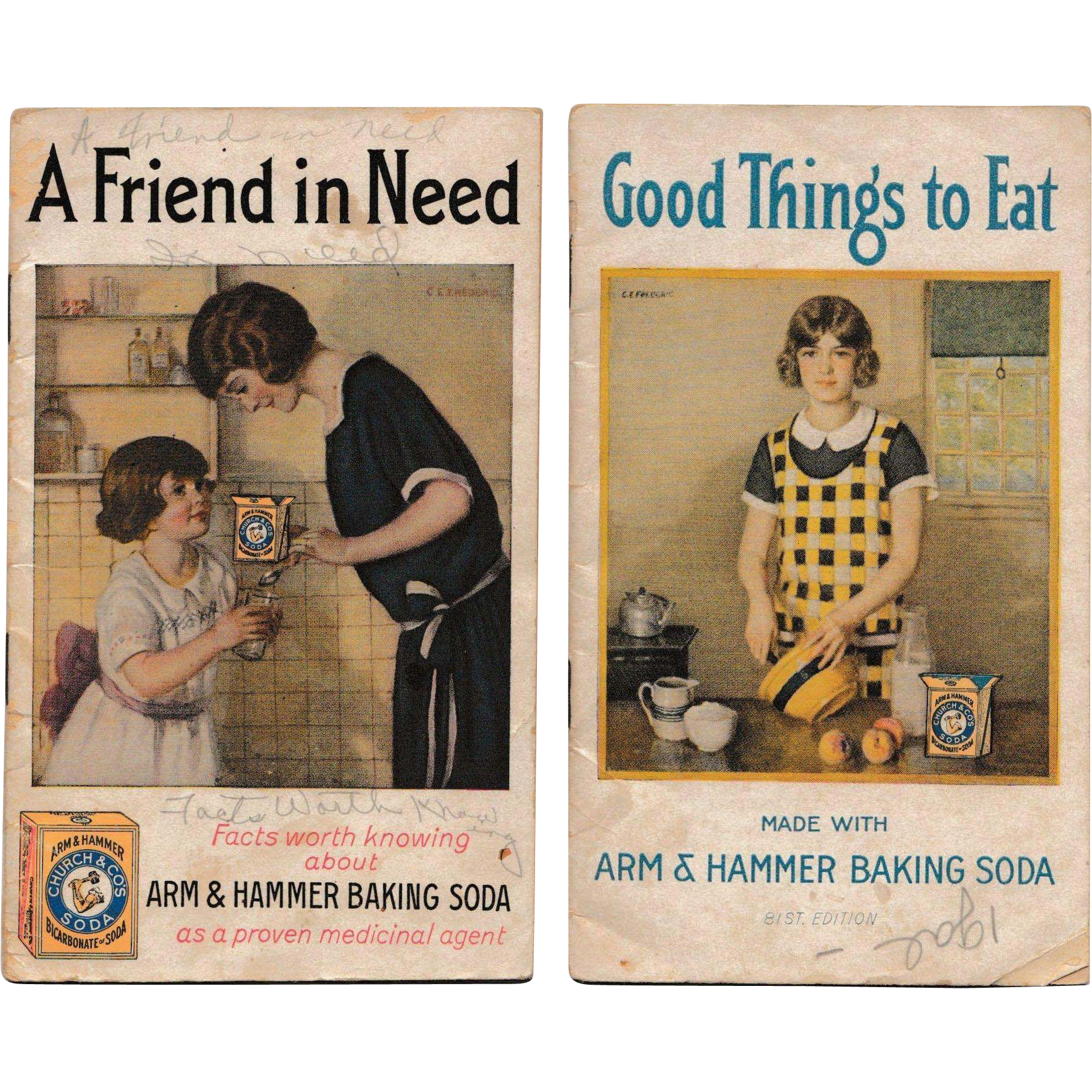 © 1924 Set of Two: Arm & Hammer Baking Soda Booklets