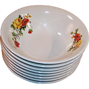 """SETS of FOUR:  Deep 6"""" CEREAL Bowls: Homer Laughlin Poppy & Rose (2 sets of 4 avail.)"""
