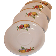 SET of FOUR:  Homer laughlin Poppy & Rose Saucers