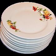 "SETS of 4: Homer Laughlin Poppy & Rose 6 3/8""""  Dessert Plates (2 Sets Available)"