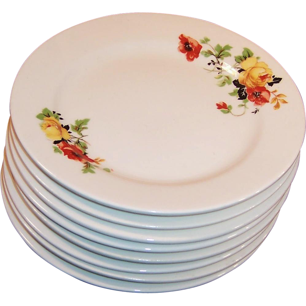 "SETS of 4: Homer Laughlin Poppy & Rose 6 3/8""""  Dessert Plates (2 Sets Available)"