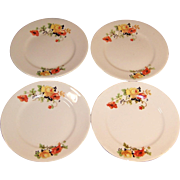 "SET of 4: Homer Laughlin Poppy & Rose 6"" Bread & Butter Plates"