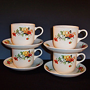 SET of FOUR: Homer laughlin Poppy & Rose Cups & Saucers