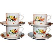 SET of FOUR: Small Homer laughlin Poppy & Rose Cups & Saucers