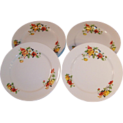 Homer Laughlin Poppy & Rose Dinner Plates SETS of FOUR: (2 Sets Available)