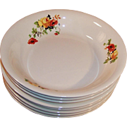 SETS of 4: Homer Laughlin Poppy & Rose Soup Bowls (2 Sets Avail.)