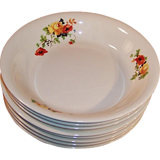 SETS of 4: Homer Laughlin Poppy & Rose Soup Bowls (2 Sets Avail.)