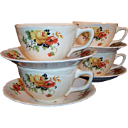 SET of 4: Laughlin Poppy & Rose Virginia Rose Shape Cups Saucers