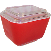 Mid Century Pyrex Covered Red Refrigerator Dish