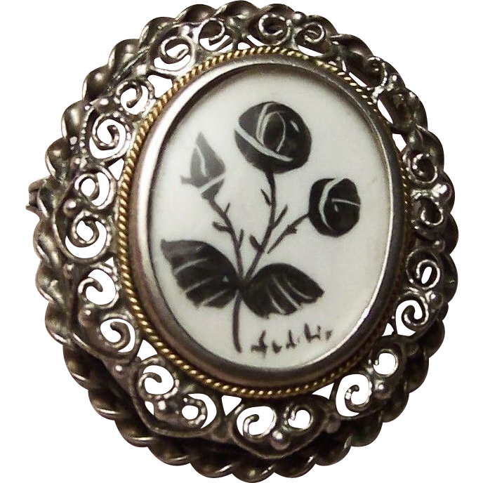 Hearts and Roses 800 Silver Brooch / Pendant
