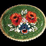 Vintage Oval Italian Micro Mosaic Rose Brooch