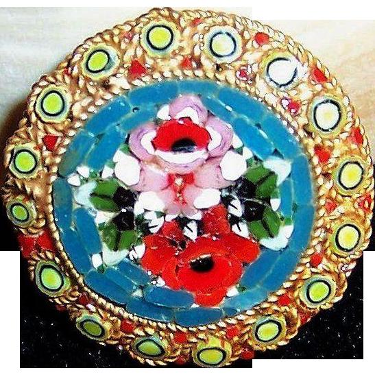Vintage Mid Century Italian Micro Mosaic Rose Brooch