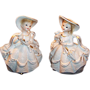 1960's Pair of Rubens Lady Figurines Planters