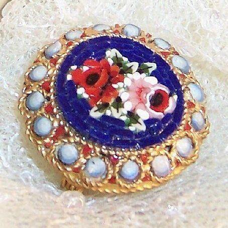 Vintage Mid Century Italian Micro Mosaic Brooch