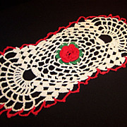 Vintage Crochet Red Rose Doily