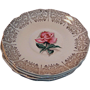1950's Taylor Smith Taylor Pink Rhythm Rose & Filigree Saucers