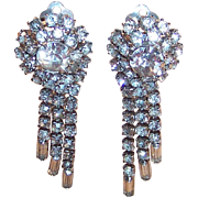 Vintage Sparkling Clear Rhinestone Dangle Clip Earrings
