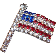 Red White and Blue Rhinestone Flag Pin