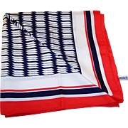 HOT SUMMER SALE!  Vintage Red White and Blue Diolen Scarf -- Midcentury Souvenir --  Holland America Cruises