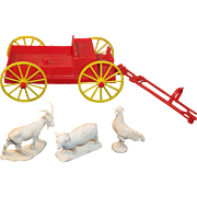 1960's Vintage Toy Red Plastic Wagon and Animals