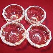 SET of 4: Crystal Clear Decagon Starburst Salt Cellars