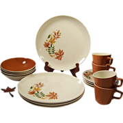 SVC For 4: Salem China Autumn Leaves Ironstone Dinnerware