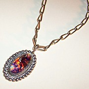 Sterling Silver Foil Art Glass Cabochon Pendant / Necklace