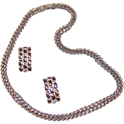 """Fancy 24"""" Chunky Chain Silvertone Necklace & Earrings"""