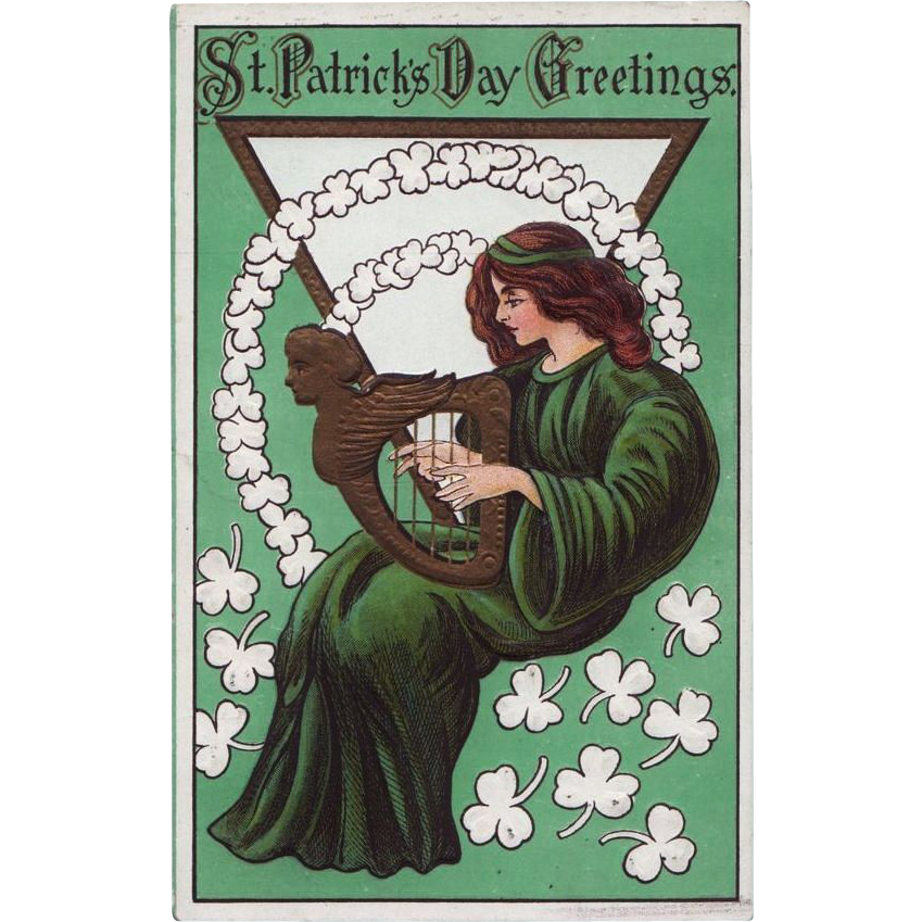 Antique Winsch Type Back St. Patrick's Day Postcard with Harp & Harpist