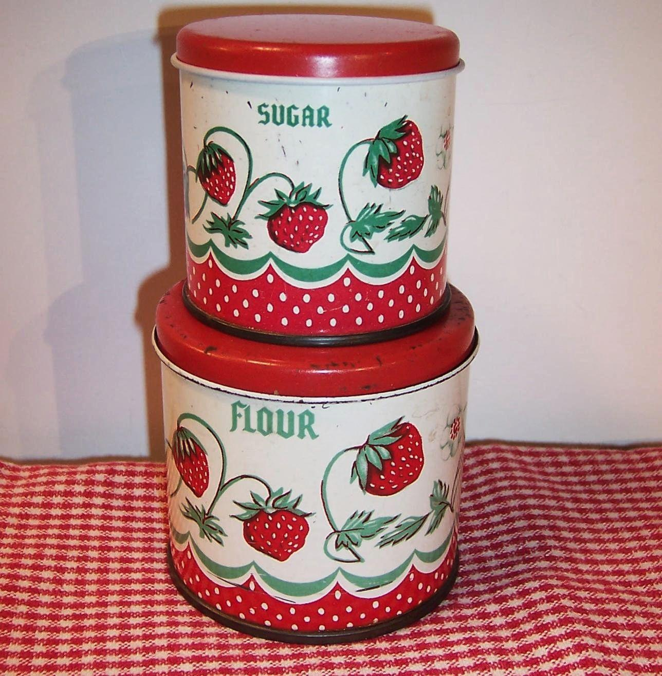 vintage wolverine tin toy strawberry kitchen canisters from roll over large image to magnify click large image to zoom