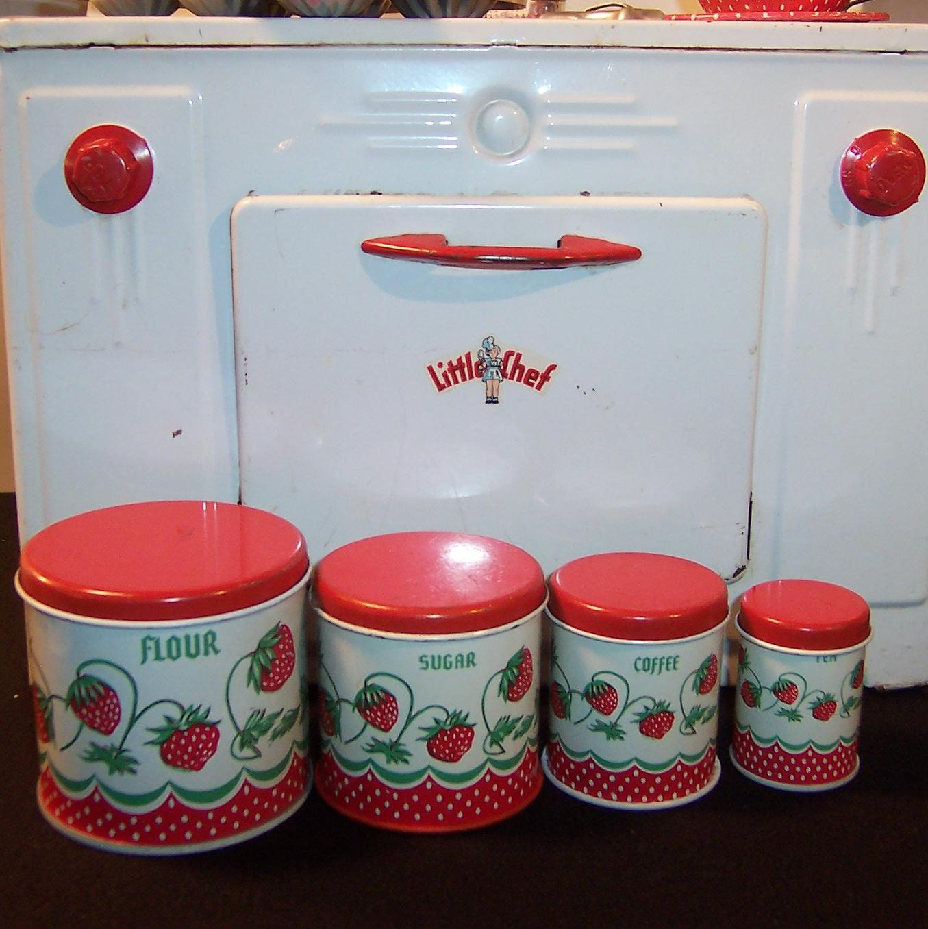 vintage wolverine strawberry toy tin kitchen canister play set