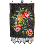 Antique Sparkling Microbeaded Rose Purse