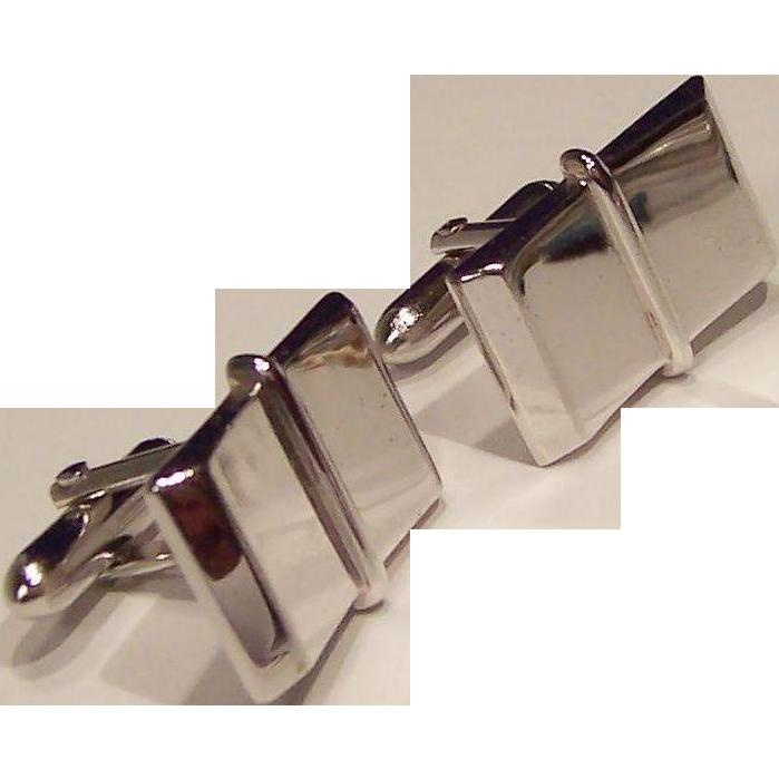 Swank Shiny Silver Tone Cuff Links