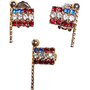 Memorial Day SALE:  Weiss Rhinestone Flag Pin and Earring Set