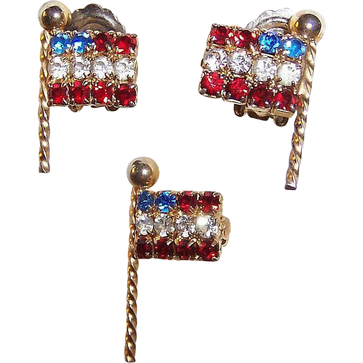 HOT SUMMER SALE!  Patriotic Weiss Rhinestone Earrings and Flag Pin