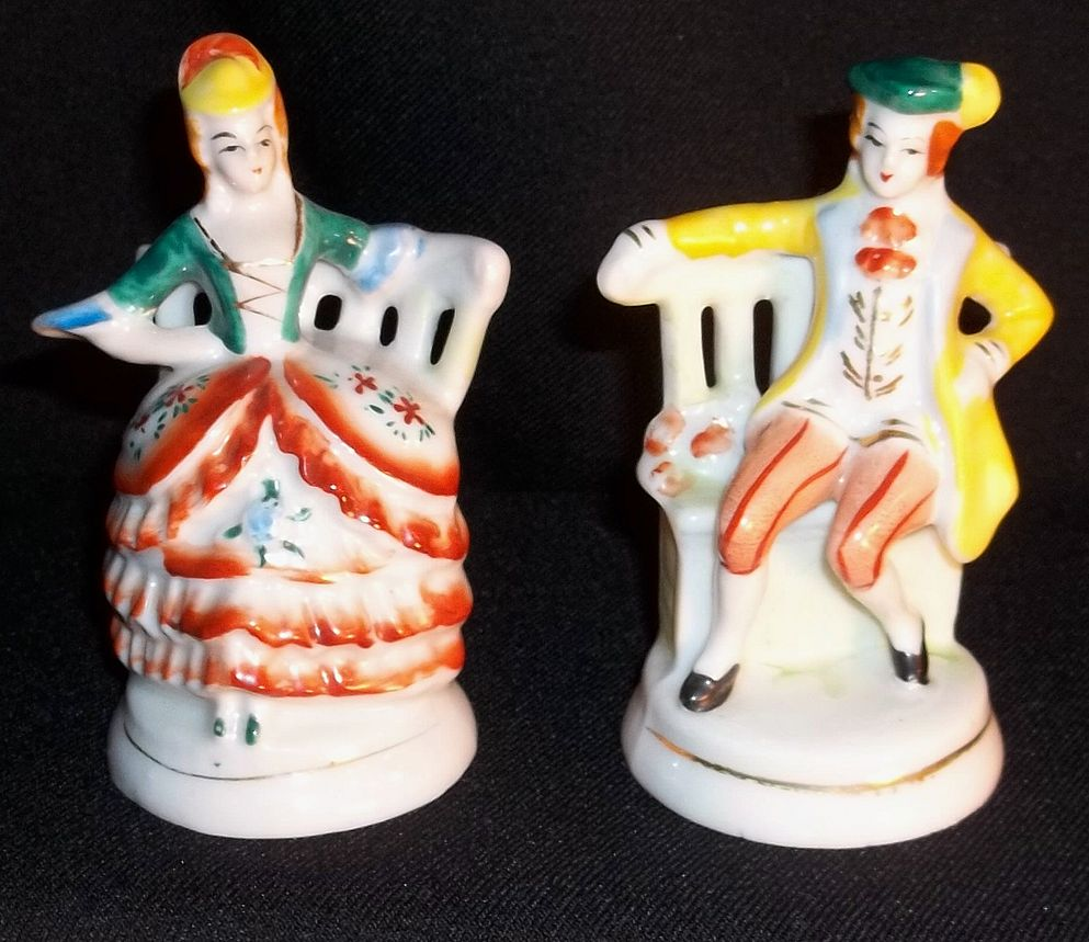 Occupied Japan Porcelain Colonial Couple Figurines