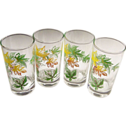 SET of 4: Vintage Autumn Leaf Tumblers