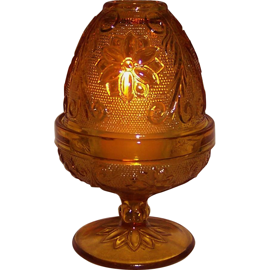 Vintage Indiana Glass  Amber Sandwich Fairy Lamp