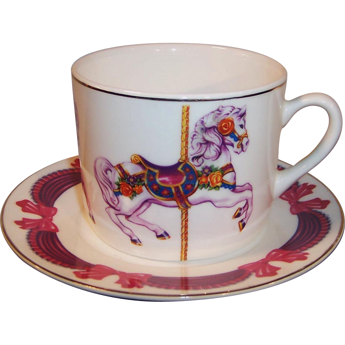 Large Vintage Carousel Merry Go Round Cup & Saucer