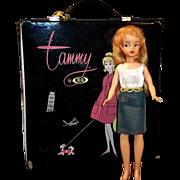 1960's Ideal Tammy Doll, Double Wardrobe Traveling Case, & Original Dress