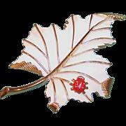 Signed Trifari Enamel Leaf Ladybug Pin