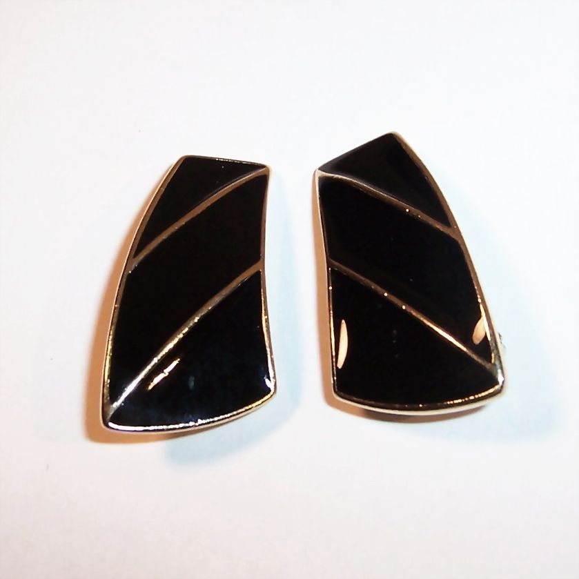 Trifari Black & Gold Enamel