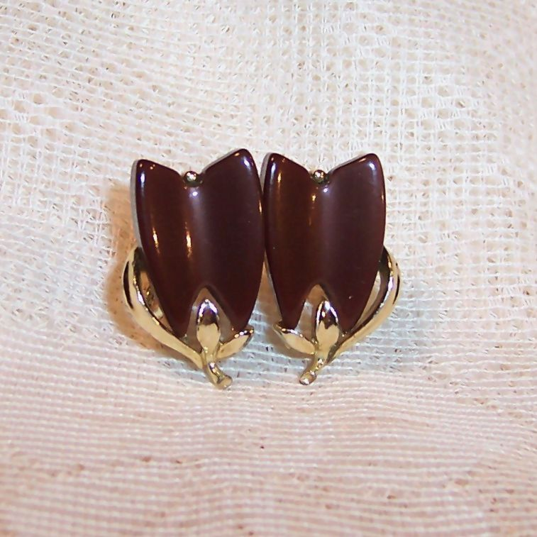 Lisner Brown Thermoset Lucite Earrings