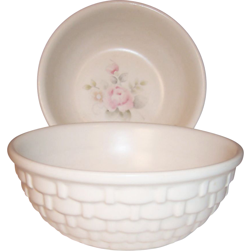 "(2) Pfaltzgraff Tea Rose Basketweave Pattern 5"" Berry Bowls"