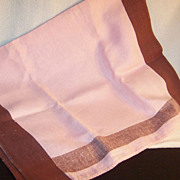Large Vintage  Pink & Brown Tea Towel / Dish Towel / Hand Towel