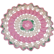 Vintage 8 1/2 Inch Crocheted Pink Rose Doilie / Doily
