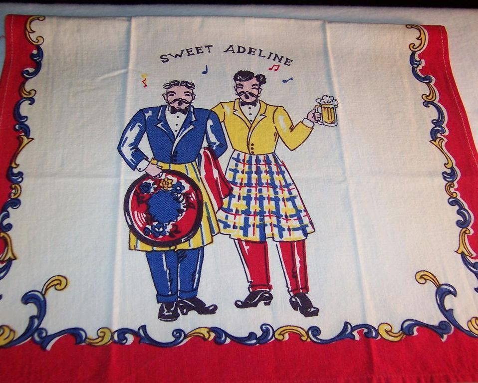 "Gay 90's  ""Sweet Adeline""  Towel; Unused!"