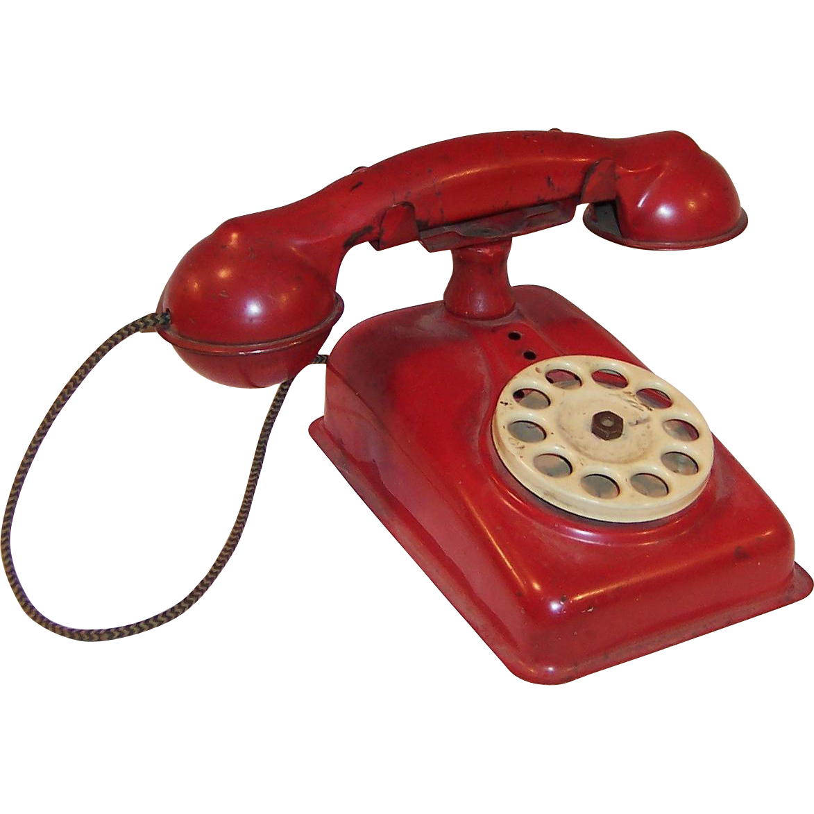 Vintage 1950's Red Metal Toy Rotary Ringing Phone