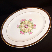 "Vintage 1940's ""Union Made"": Southern Rose Platter, Embellished 22K Gold Leaf Trim"